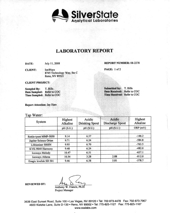 Water Ionizer Lab Report